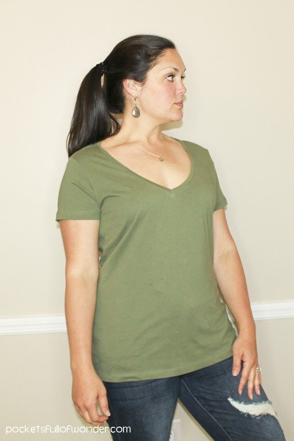 Pact Organic Cotton Basic V-Neck T-shirt in Olive