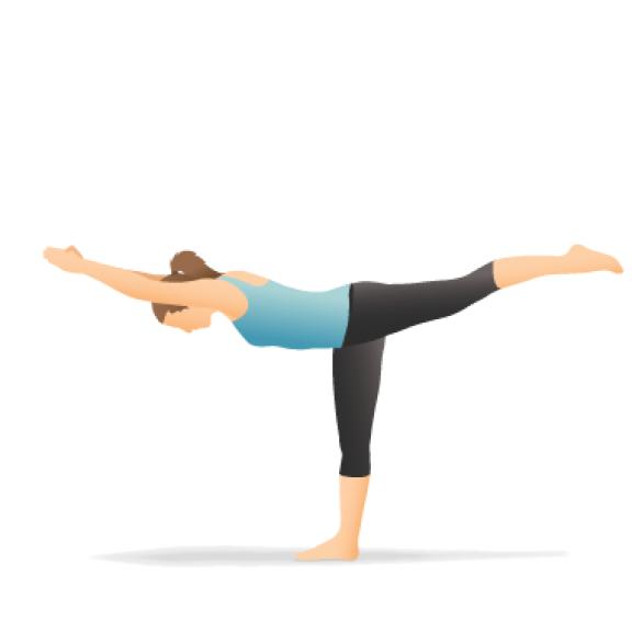 Yoga Pose: Warrior III, Balancing Stick (Vīrabhadrāsana III)