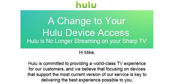 Hulu App DOA on Sharp Smart TVs