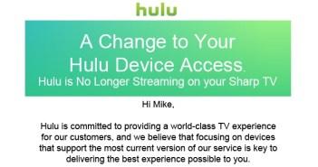Hulu App DOA on Sharp Smart TVs
