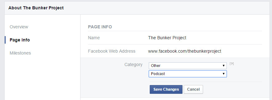 Changing Facebook Page Category to Podcast