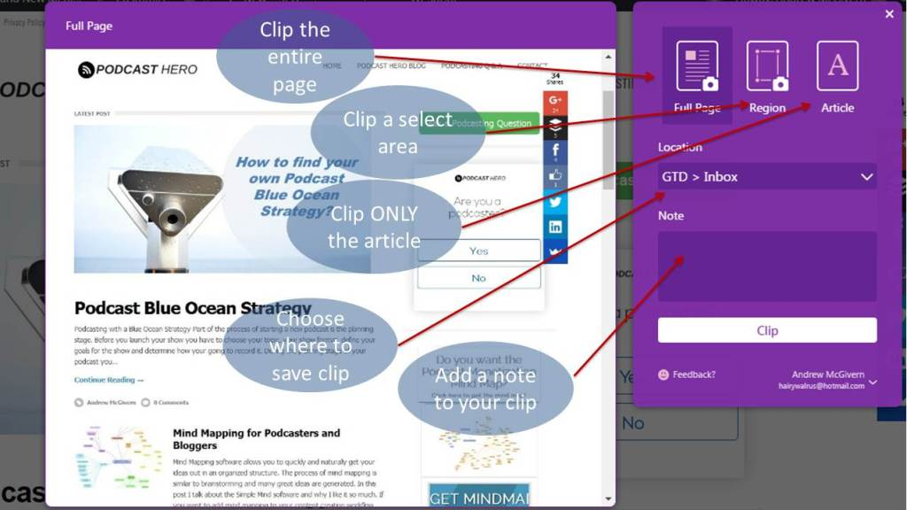 The Microsoft OneNote web clipper for chrome or firefox