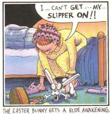The Easter Bunny Gets A Rude Awakening - Easter pictures Easter humor Easter jokes Easter cartoons