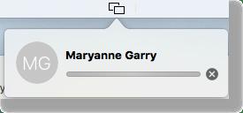 Messages screensharing in menubar