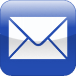 white envelope on a blue background