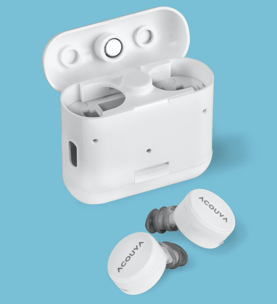Pair of Acouva earbuds and accompanying case (looks somewhat like AirPods)
