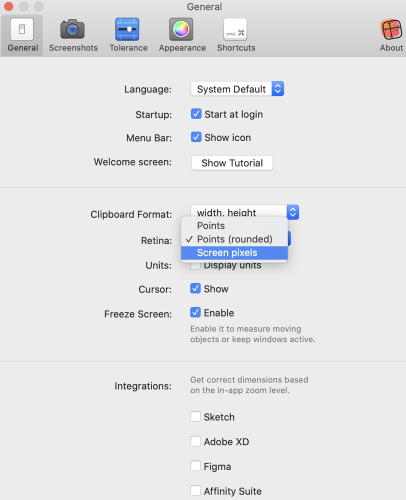PixelSnap Settings Highligting Retina Options