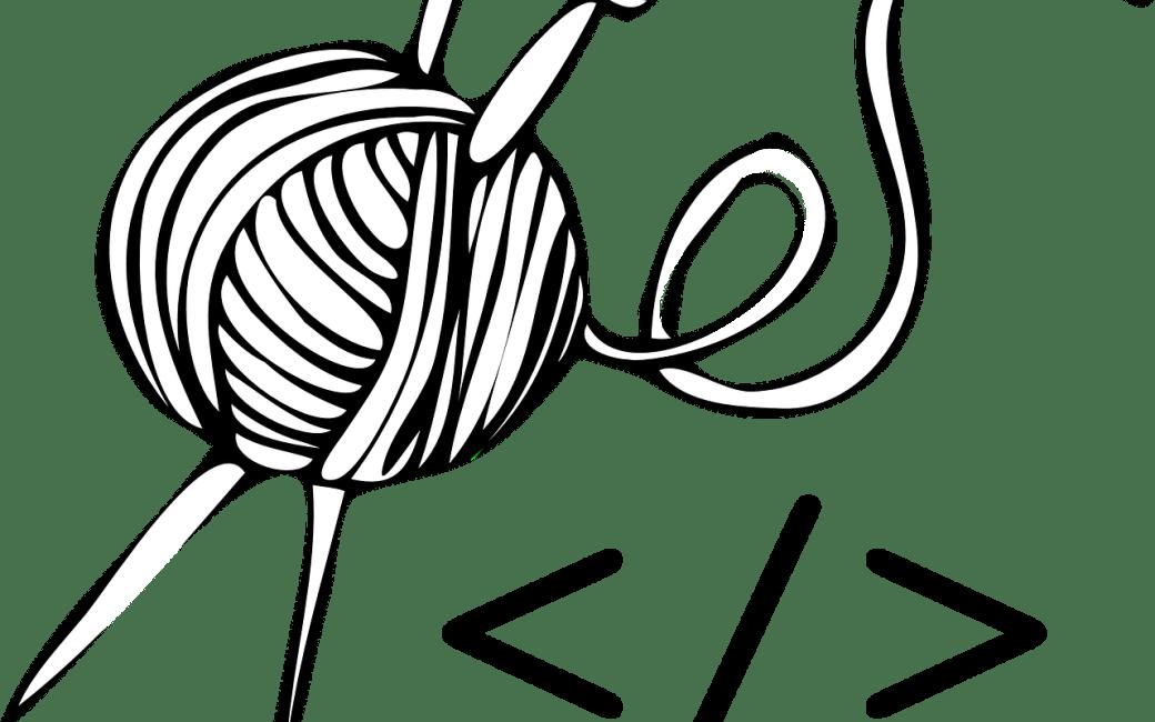 yarn, knitting needles and angle brackets