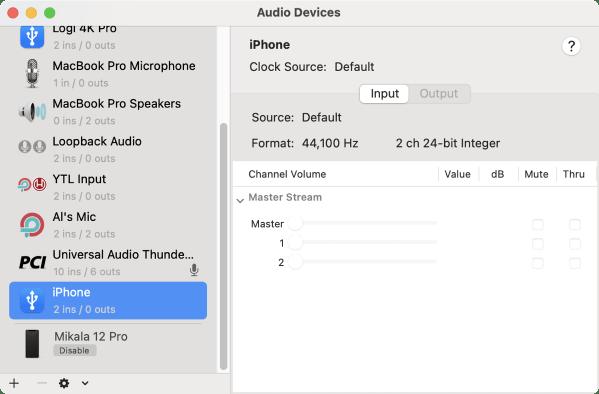 Audio MIDI Setup Showing iPhone