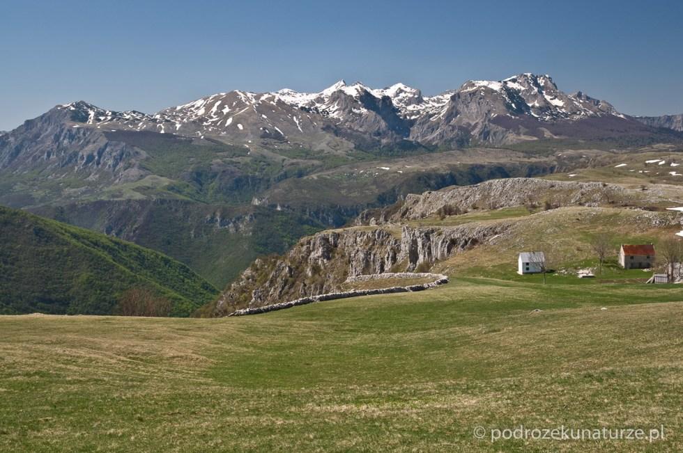 Wspaniały widok na Kanion Pivski i niewiele niższe od Durmitoru pasmo Bioč