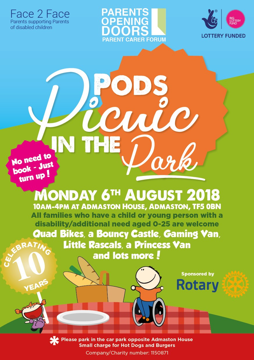 PODS Forum Picnic in the Park – Monday 6th August 2018