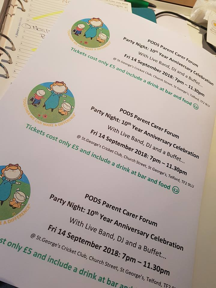 PODS Parent Carer Forum Party Night: 10th Year Anniversary Celebrations