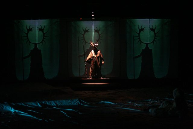theatre lighting and projection design for Wood God in the ice wolf