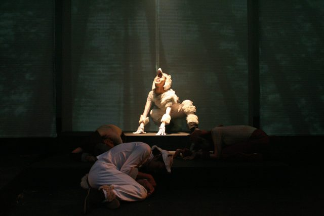 theatre lighting and projection design for the ice wolf