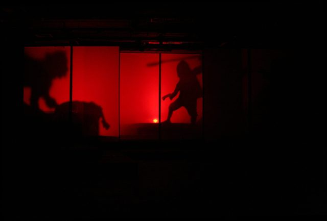 theatre lighting and projection design for the ice wolf, killing Anatou