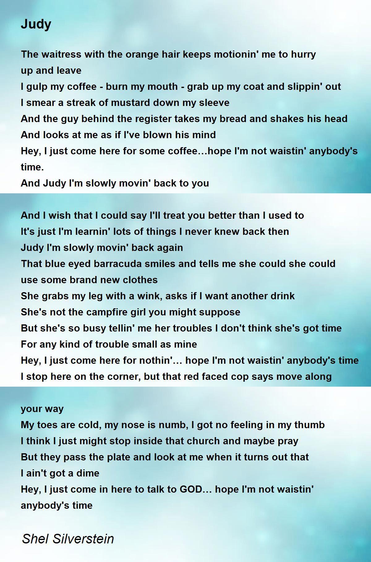 Judy Poem By Shel Silverstein Poem Hunter