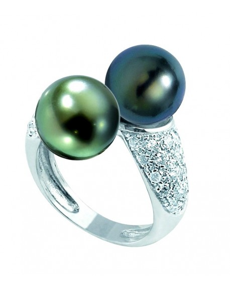 white gold tahitian pearls ring