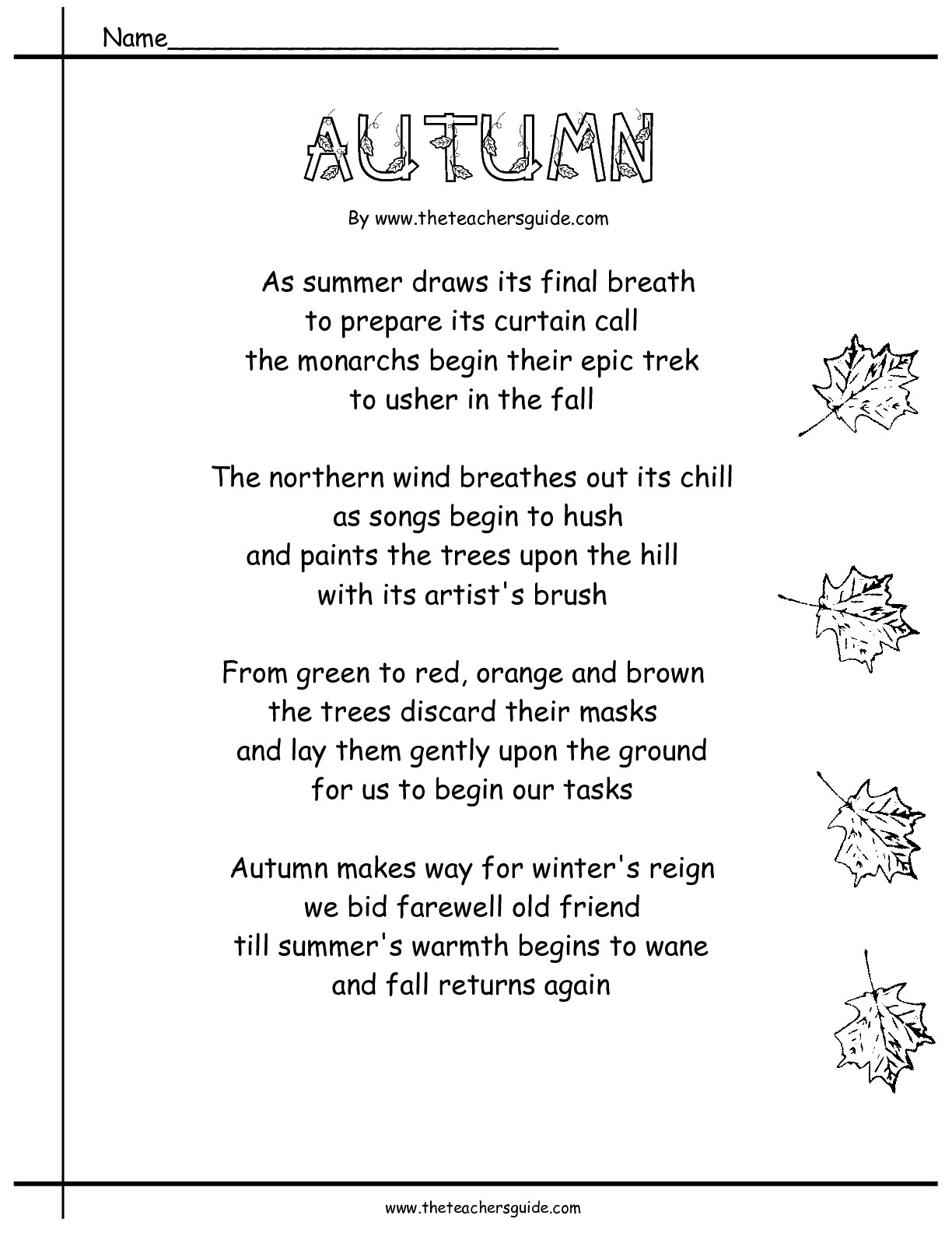 Rhyming Fall Poems