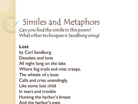 Examples Of Poems With Metaphors And Similes Poemview