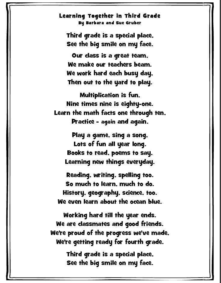 3rd grade Poems
