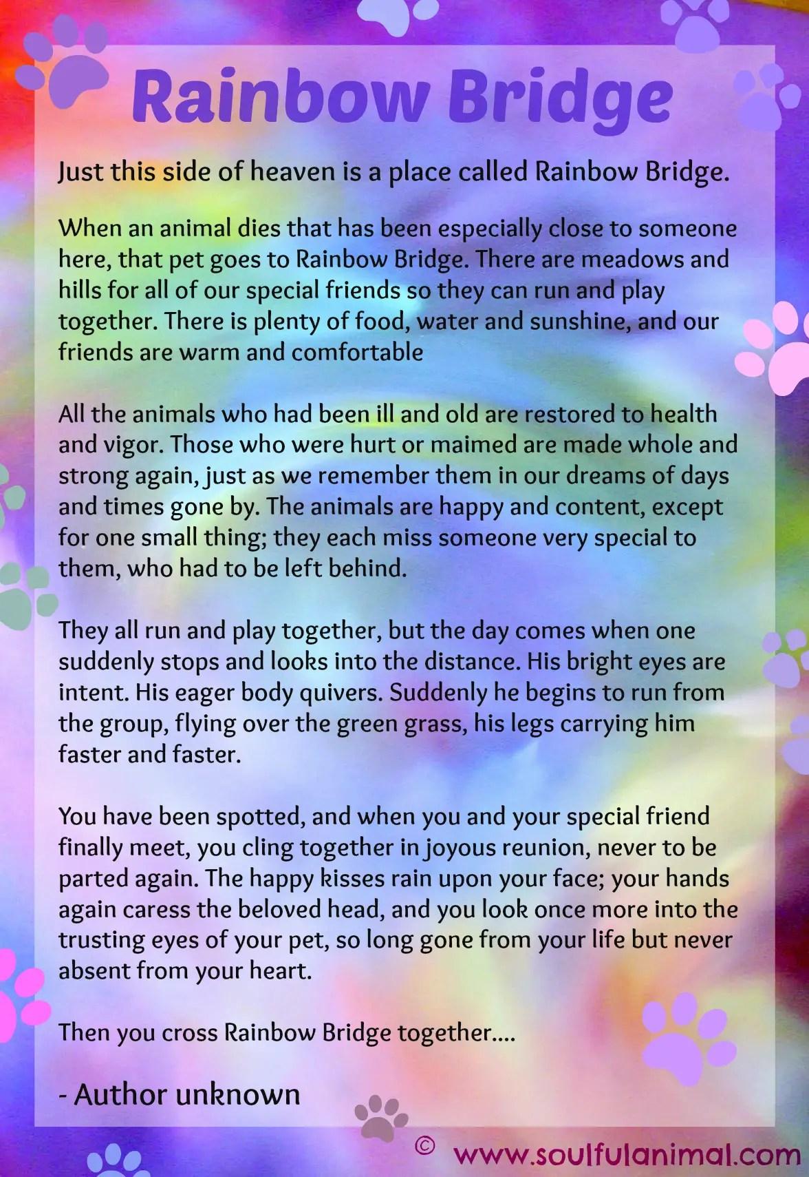 Bridge Version Rainbow Printable Dogs Poem