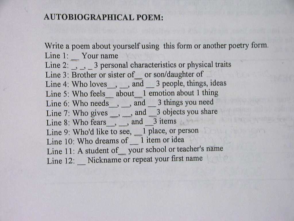 Autobiographical Poems Example