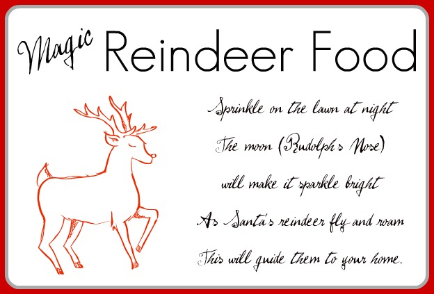 Printable Reindeer Food Saying Reindeer Food Template
