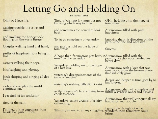 Letting Go Someone You Love Poems