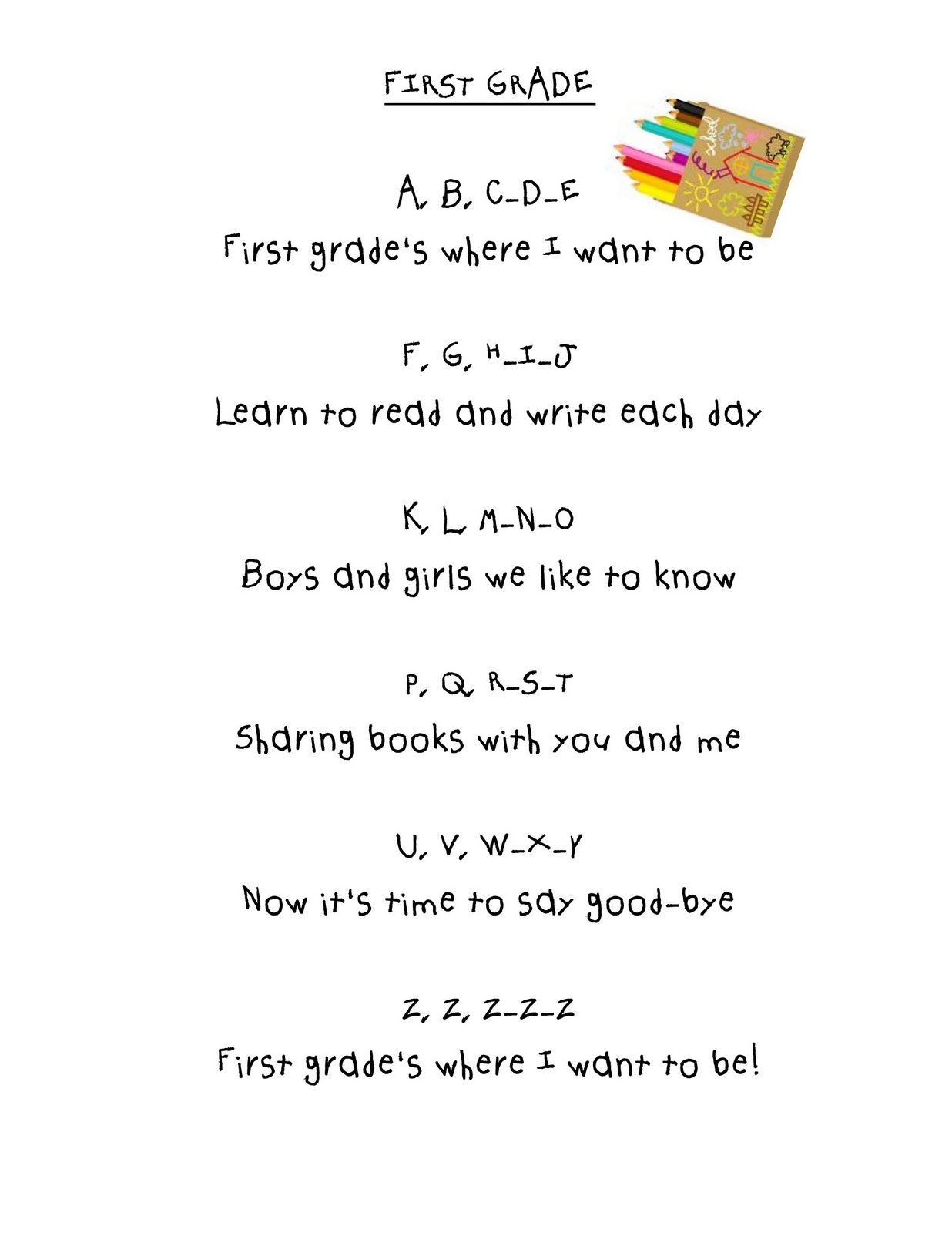 First Grade Poems