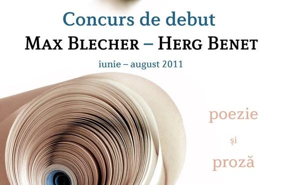 Concurs de DEBUT poezie si proza editurile Max Blecher si Herg Benet