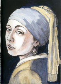Natalie Dekel - Drawing past-lives - Self portrait after Vermeer, 2004