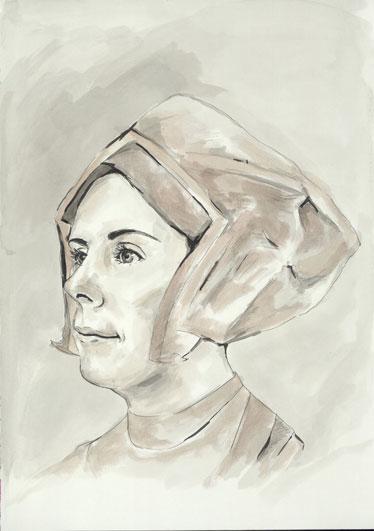 Natalie Dekel - Drawing past-lives - Emma, as Anne Boleyn, wife of Henry VIII (painted in 2008)