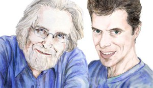 Portrait of Neale Donald Walsch, author of 'conversations with God' (left), and Gil Dekel, PhD (Right). Drawn by © Natalie Dekel, 2010.
