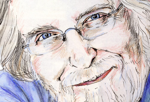 Portrait of Neale Donald Walsch (detail), author of 'conversations with God' (left). Drawn by © Natalie Dekel, 2010.