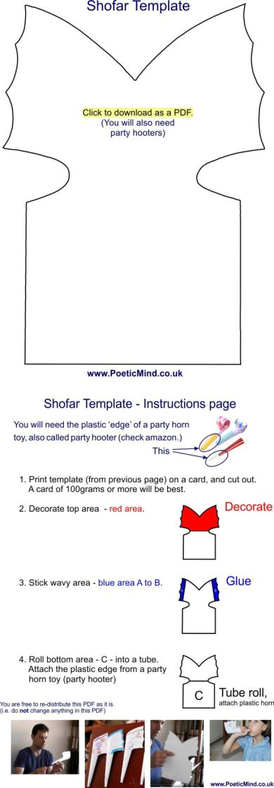 Shofar template and instructions