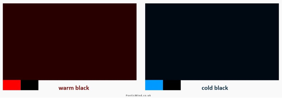 Warm black (left) created by adding red to black. Cold (cool) black on the right, created by adding blue to black.