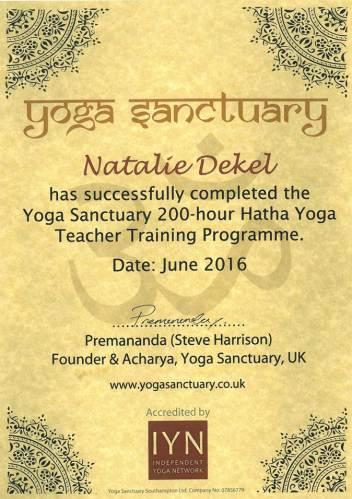 Yoga Teacher Certificate - Natalie Dekel
