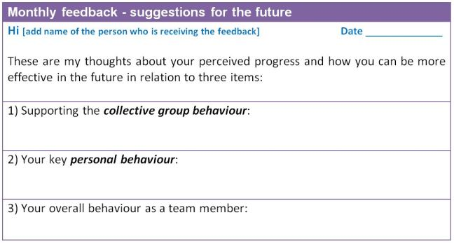 team building process - monthly suggestions form.
