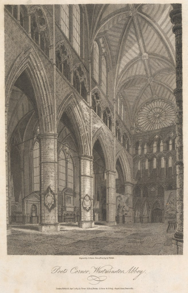 Yale Center for British Art, Paul Mellon Collection image, 'Poets Corner, Westminster Abbey', by James S. Storer after C. John M. Whichelo, 1805