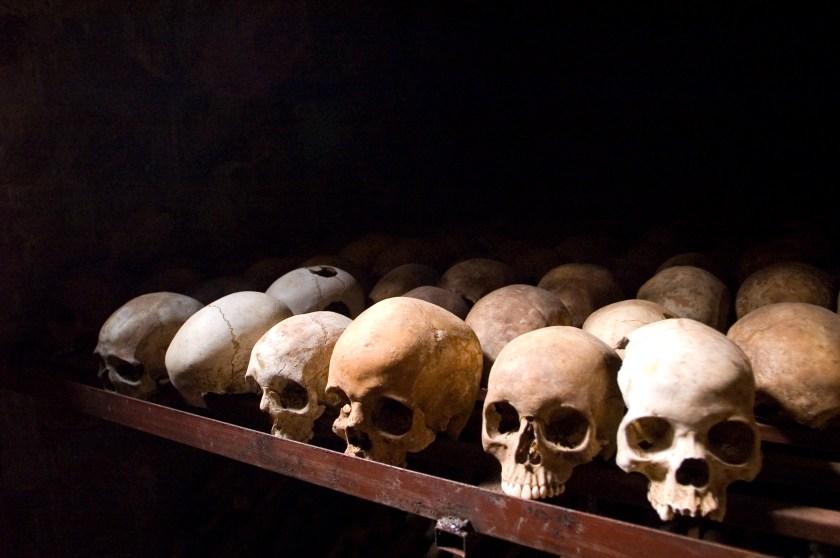 Rwandan Genocide Skulls at Nyamata Memorial Site