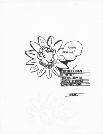 """Ted Berrigan notes in his diary that the first money he ever made from poetry—""""about $20.00""""—was a result of this 1964 reading at Café Le Metro. Flyer by Joe Brainard. Courtesy Larry Fagin"""