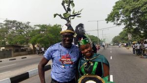 Eriata Oribhabor, Chairman of Festival Poetry Foundation with PIN Queen, Veralyn Chinenye