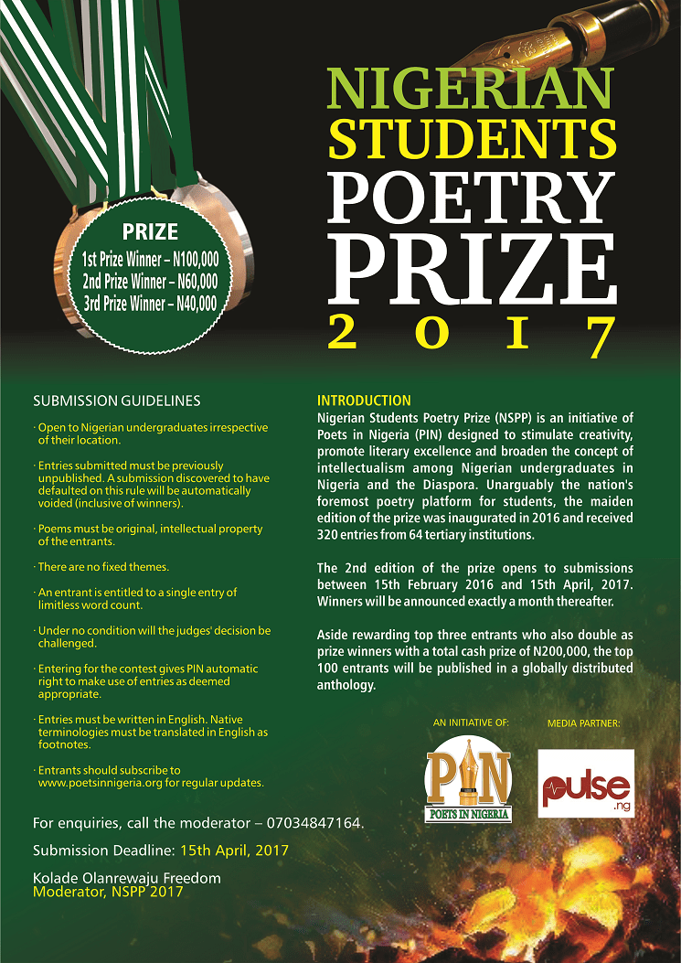 APPLY: Nigerian Students Poetry Prize 2017