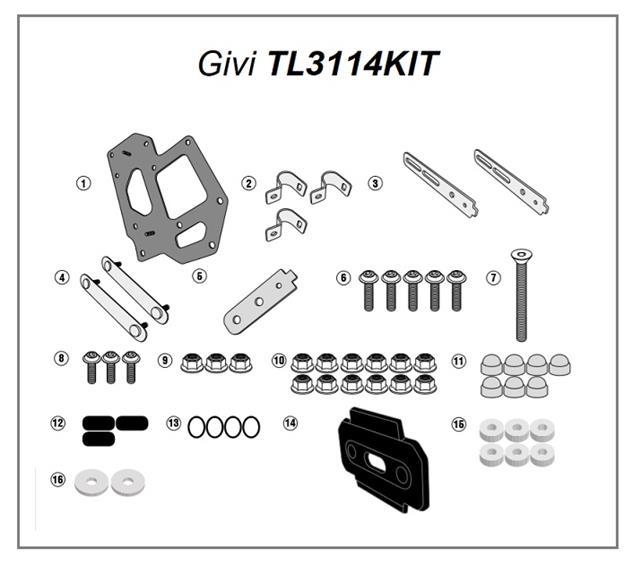Set Mount GIVI TL3114KIT for Fixing S250 On PL3105CAM