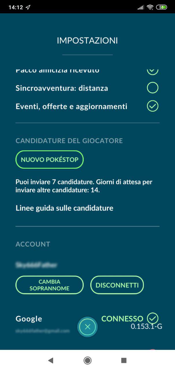 """Schermata Impostazioni con tasto """"Nuovo Pokéstop"""""""