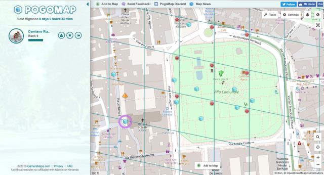PoGoMap.info - Visualizzazione degli elementi nella mappa