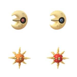 Ecco i modelli 3D di Lunatone (in alto) e Solrock (in basso), versione normale a sinistra e cromatica a destra