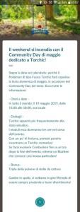 Annuncio in game del Community Day di Maggio (Torchic)
