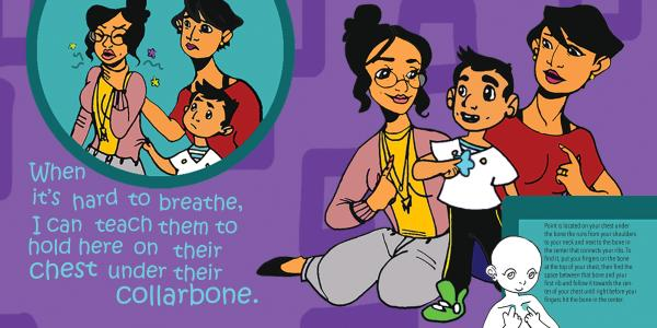 When My Tummy Hurts Sample Page - When it's hard to breathe, I teach them to hold here