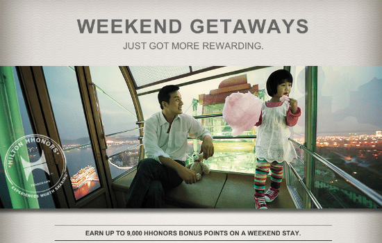 Hilton HHonors Weekend Stay Promotion earn 9,000 points